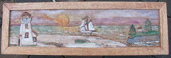 Hand Carved Custom Oak Jewelry Box In progress - Carved and Detail Beach Scene in Frame Tinted