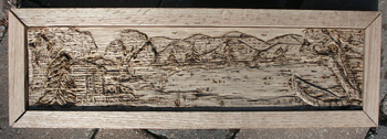 Hand Carved Custom Oak Jewelry Box In progress - Carved and Detail Burned Cabin Scene in Frame