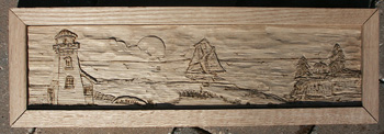 Hand Carved Custom Oak Jewelry Box In progress - Carved and Detail Burned Beach Scene in Frame