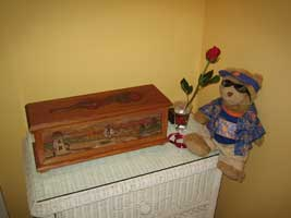 Hand Carved Custom Oak Jewelry Box In progress - Beach Scene Complete with Rose and Bear after delivery