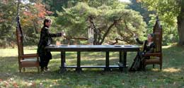 Hand Carved Solid Oak Gothic Dining Table by Artisans of the Valley Artistic Setting with Eric Saperstein & Theresa Tonte