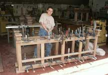 Hand Made Custom Solid Walnut New Wave Gothic Server by Artisans of the Valley - In Progress - Framework in Clamps shown with Theresa Tonte