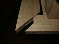 New Wave Gothic Table by Artisans of the Valley - Closeup Mitered Corner Spline Joint
