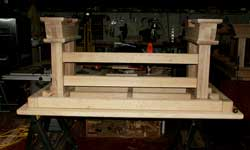Artisans of the Valley - 2007 Gothic Table Project - Dry Fit Desk Feet Assemblies Upside Down