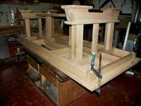 Artisans of the Valley - 2007 Gothic Table Project - Dry Fit Table Feet Assemblies Upside Down