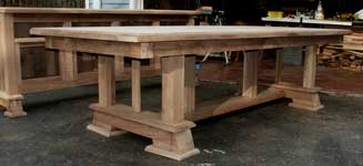 Hand Made Custom Solid Walnut New Wave Gothic Dining Table by Artisans of the Valley - In Progress - Dryfit Table Structure