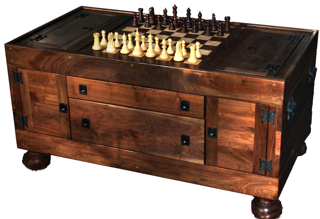 Chessboard Coffee Table Puzzle Box Wine Rack Glass Cat Play