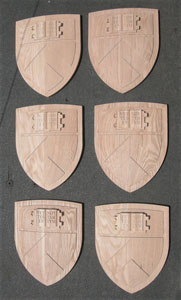 Precision CNC Carved Hand Touched Oak 3D Architectureal Shields Group of Six