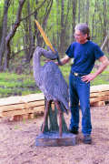 Artisans of the Valley feature Chainsaw Carving by Bob Eigenrauch - Bob with his Crane