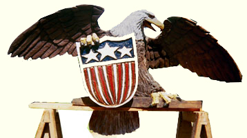 Artisans of the Valley feature Chainsaw Carving by Bob Eigenrauch - Eagle with a Shield