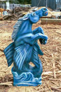 Artisans of the Valley feature Chainsaw Carving by Bob Eigenrauch - Painted Blue Fantasy Horse Profile