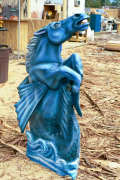 Artisans of the Valley feature Chainsaw Carving by Bob Eigenrauch - Painted Blue Fantasy Horse Profile 2