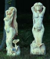 Artisans of the Valley feature Chainsaw Carving by Bob Eigenrauch - Forward View Unfinished Mermaid