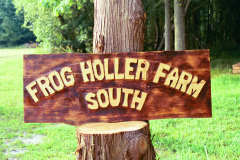 Artisans of the Valley feature Chainsaw Carving by Bob Eigenrauch - Frog Holler Farm Sign