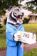 Artisans of the Valley feature Chainsaw Carving by Bob Eigenrauch - Tiger in Bathrobe Mailbox