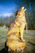 Artisans of the Valley feature Chainsaw Carving by Bob Eigenrauch - Howelling Wolf Unfinished