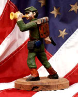 Hand carved civil war soldier - bugler
