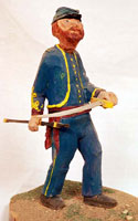 Hand carved civil war soldier - Sword Drawn
