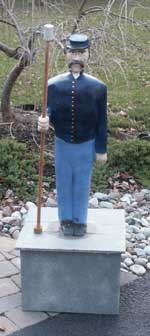 Hand carved civil war solider sculpture in progress Painted