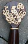 Custom Asian Piercing on Rosewood Walking Staff by Artisans of the Valley - Bird in Flowers
