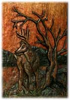 "Ted Nugent's Sunrize Safaris Whitetail Deer Relief Carving entitled ""Whitetail Sunrize"" by Eric M. Saperstein Artisans of the Valley presented December 13th 2006 at the YO Ranch in Mountain Home, TX Deer Closeup"