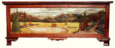 Custom Solid Cherry Safari Chest - Fully Carved with Wildlife Scenes Wide Angle Bear Carving - Complete