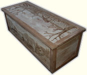 Custom Solid Cherry Safari Chest - Fully Carved with Wildlife Scenes - In Progress Carved Dryfit Angle View
