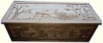 Custom Solid Cherry Safari Chest - Fully Carved with Wildlife Scenes - In Progress Carved Dryfit Front View