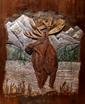 Hand Carved Wildlife Scene - Moose