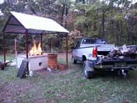 Clover Rod & Gun Club - Prepping the Fire for a Pig Roast