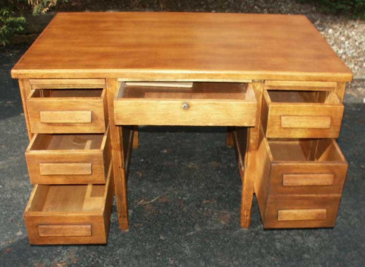 S Of The Valley Golden Oak Office Desk After Restoration