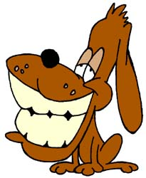 Artisans of the Valley Restoration Services - Cartoon Dog with HUGE smiling teeth showing rewards for dogs that give us a job.