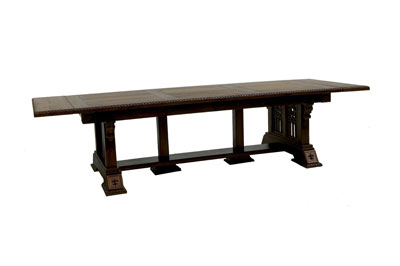 Solid Quarter Sawn Oak Gothic Dining Table Complete - Side View