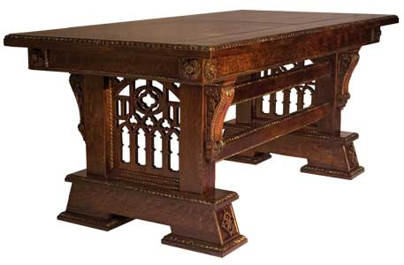 Custom Made & Hand Carved New Wave Gothic Desk (Library Table) by Artisans of the Valley in Solid Quarter Sawn Oak