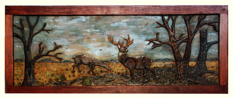 Custom Solid Cherry Safari Chest - Fully Carved with Wildlife Scenes - Wide angle Whitetail Scene Complete